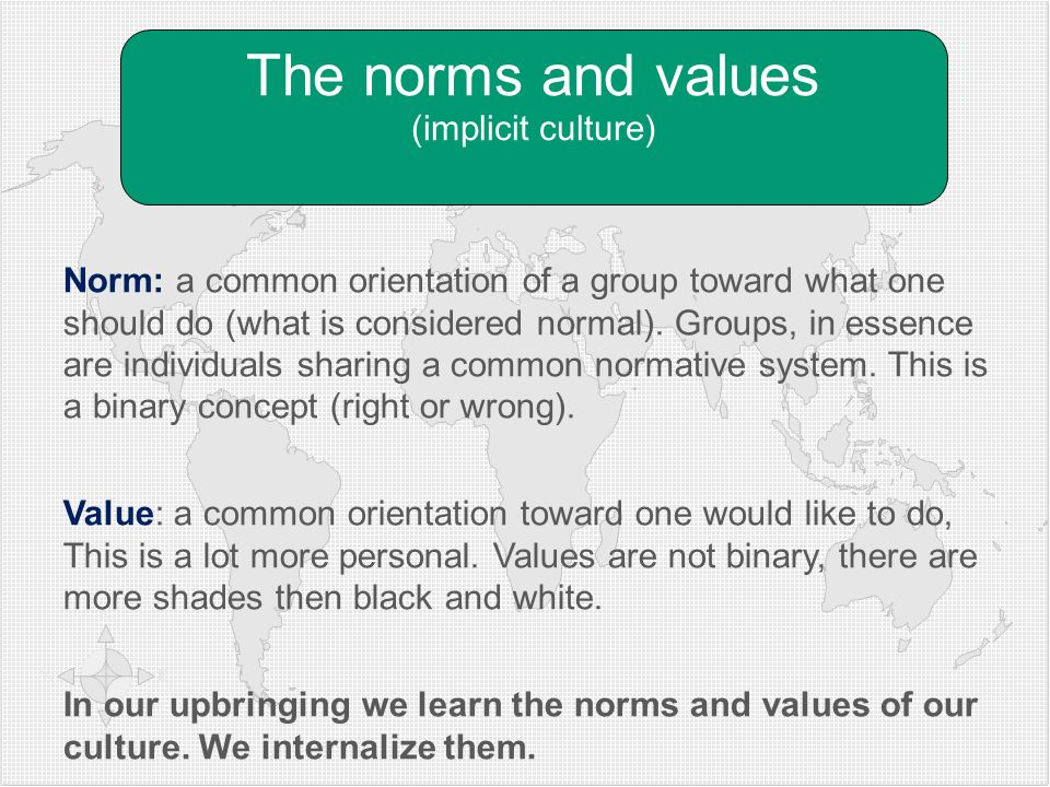 The norms and values (implicit culture)