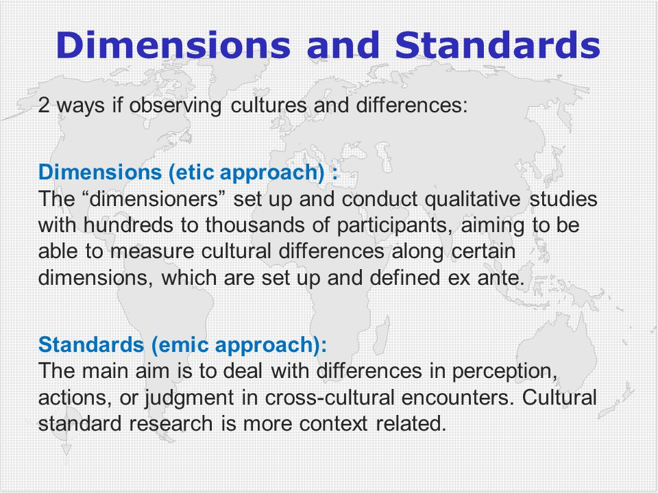 Dimensions and Standards
