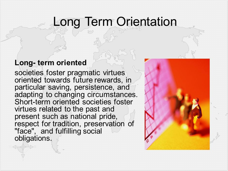 Long Term Orientation Long- term oriented