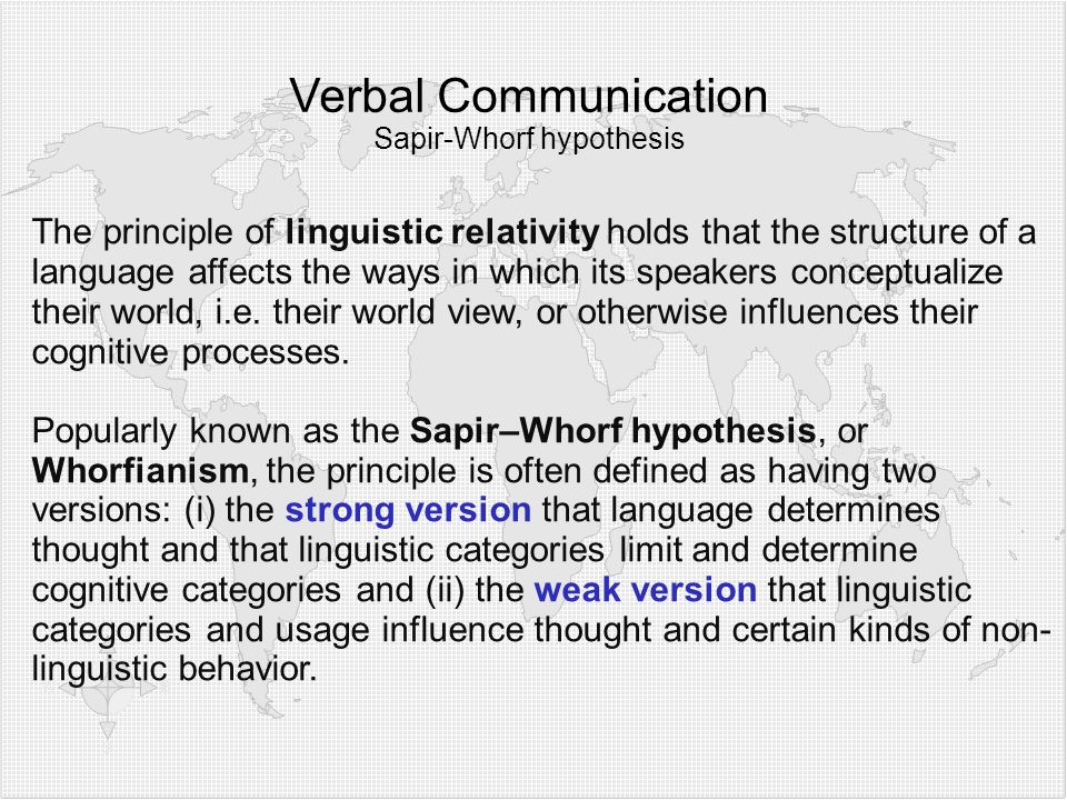 Verbal Communication Sapir-Whorf hypothesis