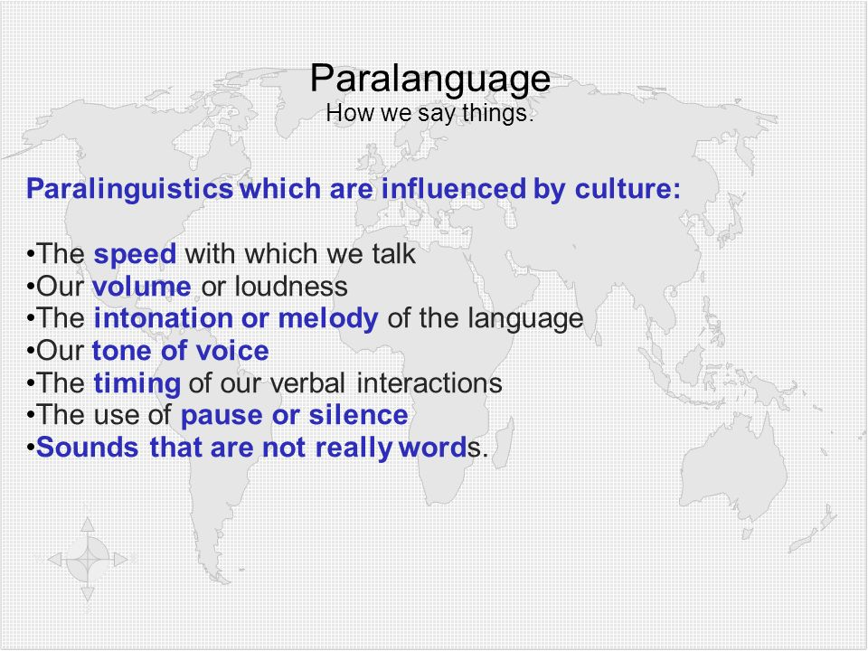 Paralanguage How we say things.