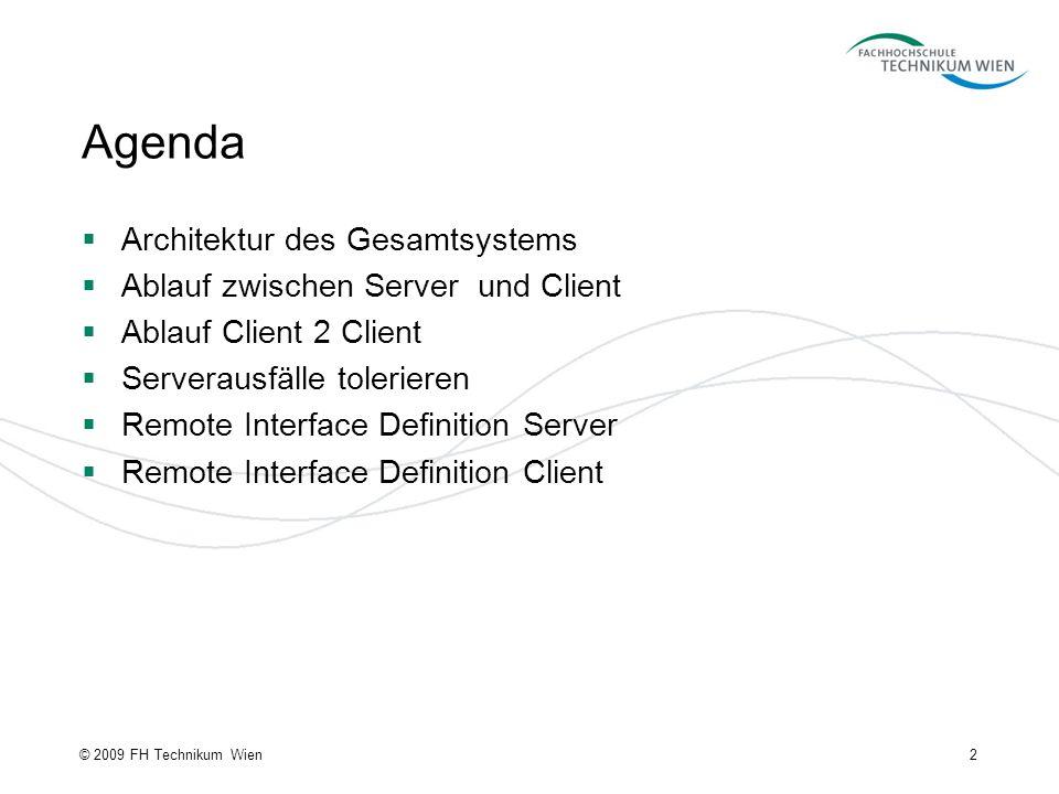 Agenda Architektur des Gesamtsystems Ablauf zwischen Server und Client