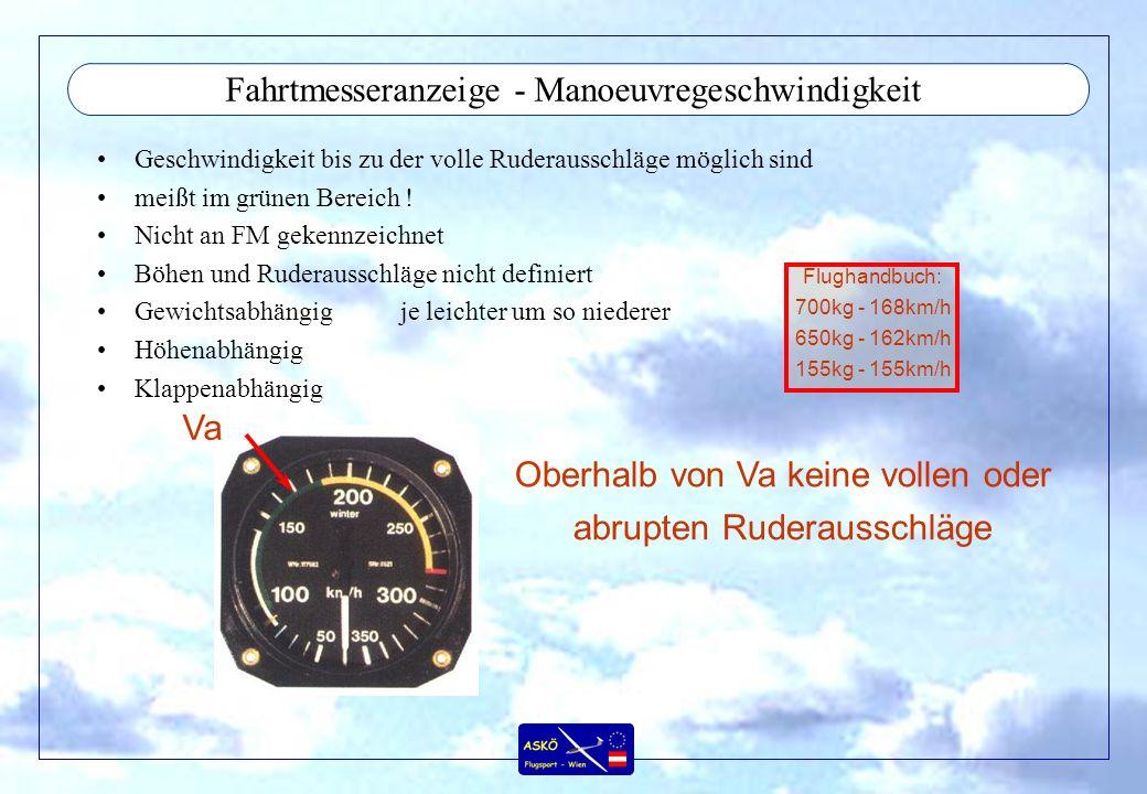 Fahrtmesseranzeige - Manoeuvregeschwindigkeit