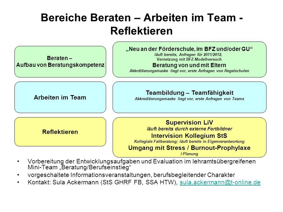 Bereiche Beraten – Arbeiten im Team - Reflektieren