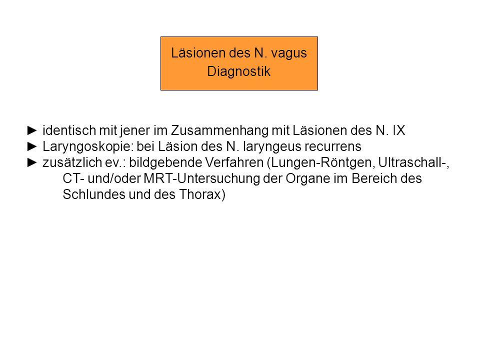 Läsionen des N. vagus Diagnostik. ► identisch mit jener im Zusammenhang mit Läsionen des N. IX.