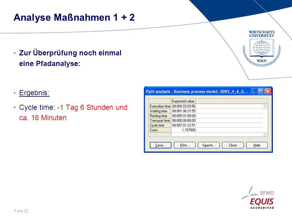Analyse Maßnahmen 1 + 2 Zur Überprüfung noch einmal eine Pfadanalyse: