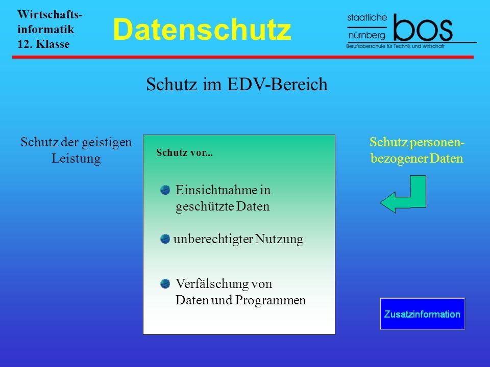 Datenschutz Schutz im EDV-Bereich Schutz der geistigen Leistung