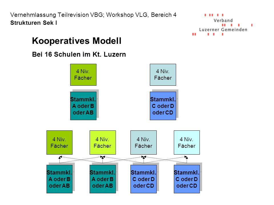 Kooperatives Modell Bei 16 Schulen im Kt. Luzern