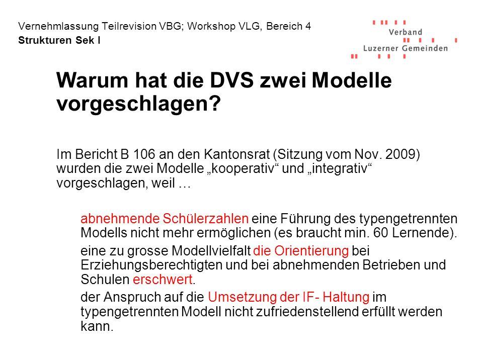 Warum hat die DVS zwei Modelle vorgeschlagen