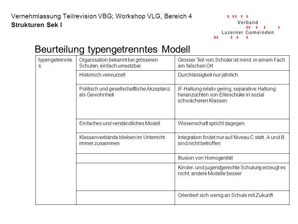 Beurteilung typengetrenntes Modell