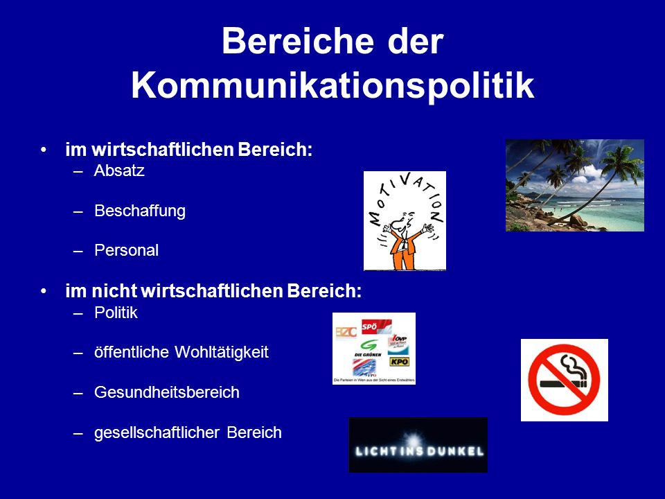 Bereiche der Kommunikationspolitik