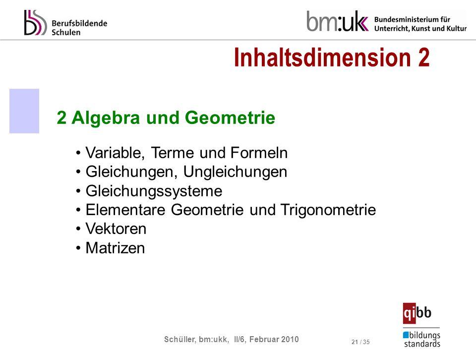 Inhaltsdimension 2 2 Algebra und Geometrie Variable, Terme und Formeln