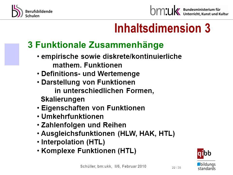 Inhaltsdimension 3 3 Funktionale Zusammenhänge