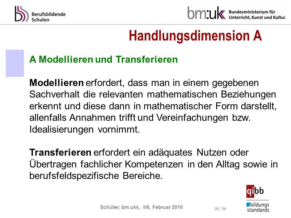 Handlungsdimension A A Modellieren und Transferieren