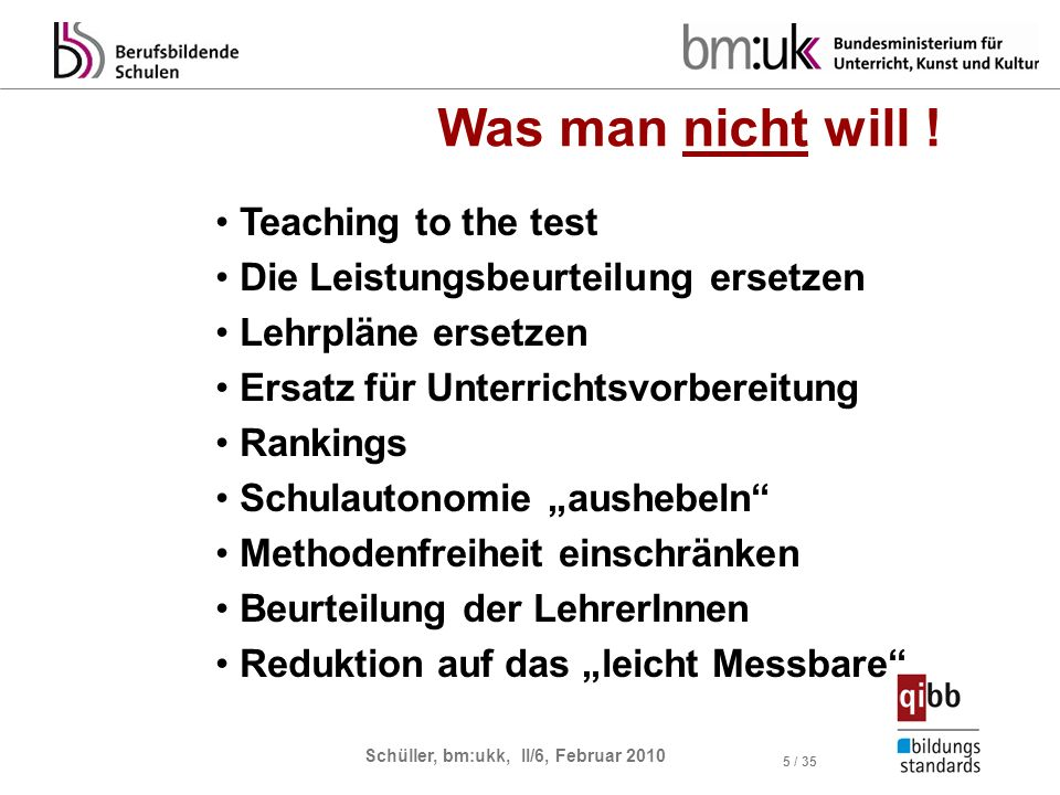 Was man nicht will ! Teaching to the test