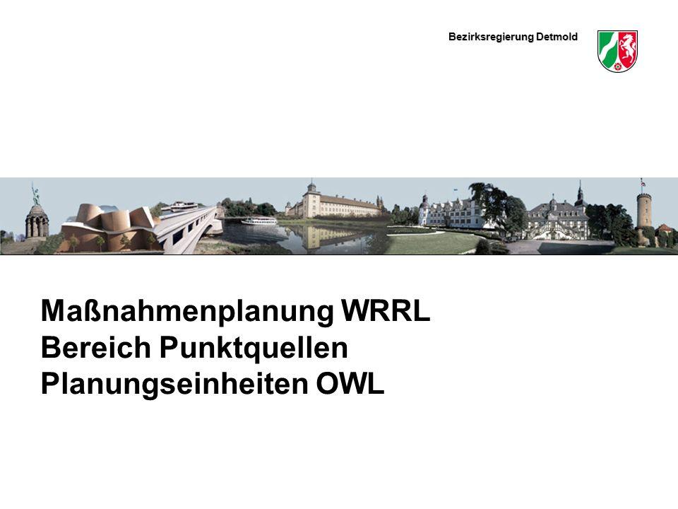 Maßnahmenplanung WRRL Bereich Punktquellen Planungseinheiten OWL