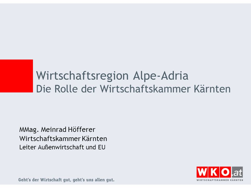 Wirtschaftsregion Alpe-Adria Die Rolle der Wirtschaftskammer Kärnten