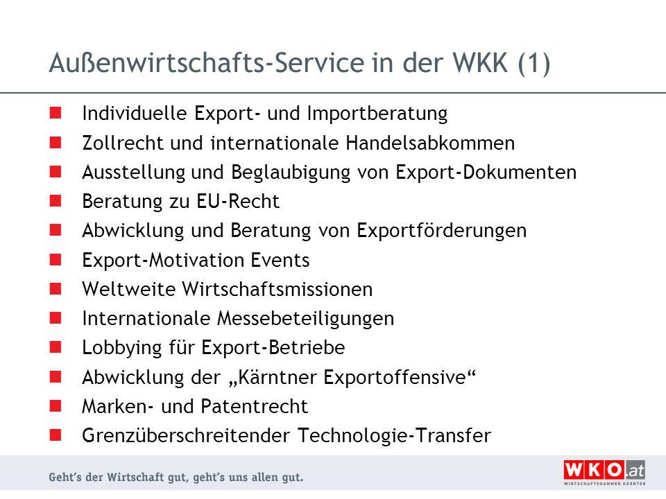 Außenwirtschafts-Service in der WKK (1)