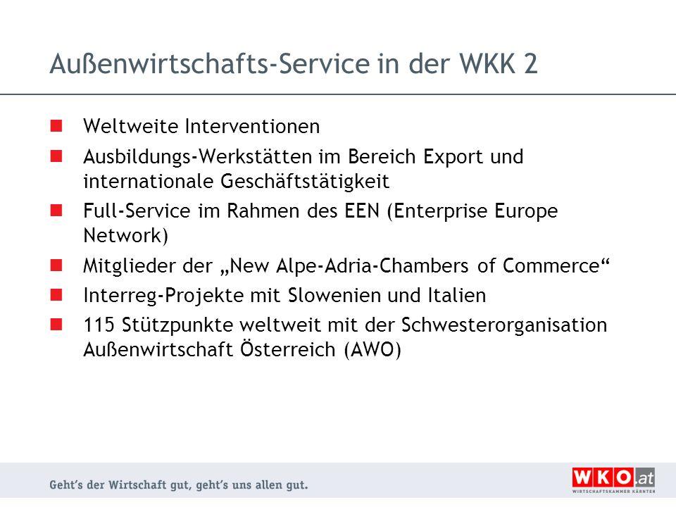 Außenwirtschafts-Service in der WKK 2
