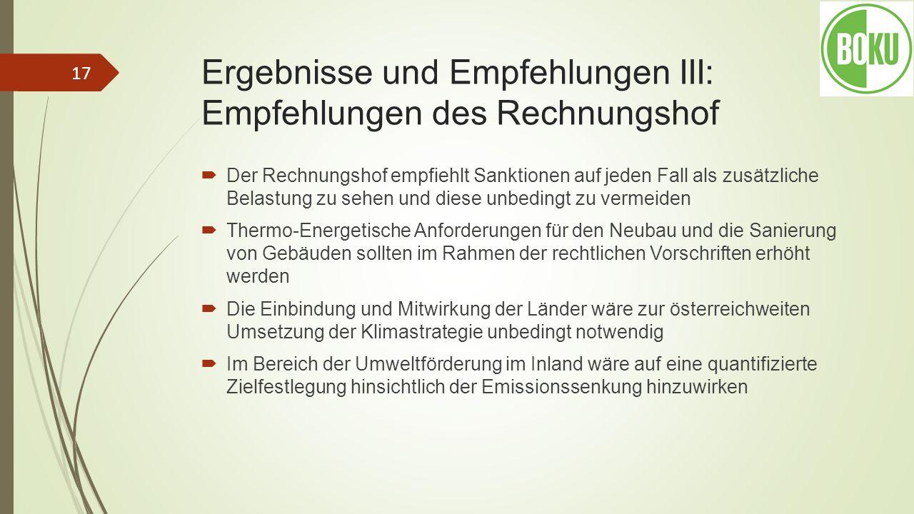 Ergebnisse und Empfehlungen III: Empfehlungen des Rechnungshof