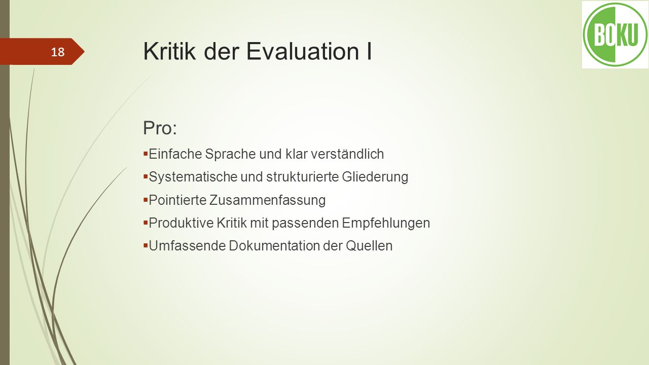 Kritik der Evaluation I