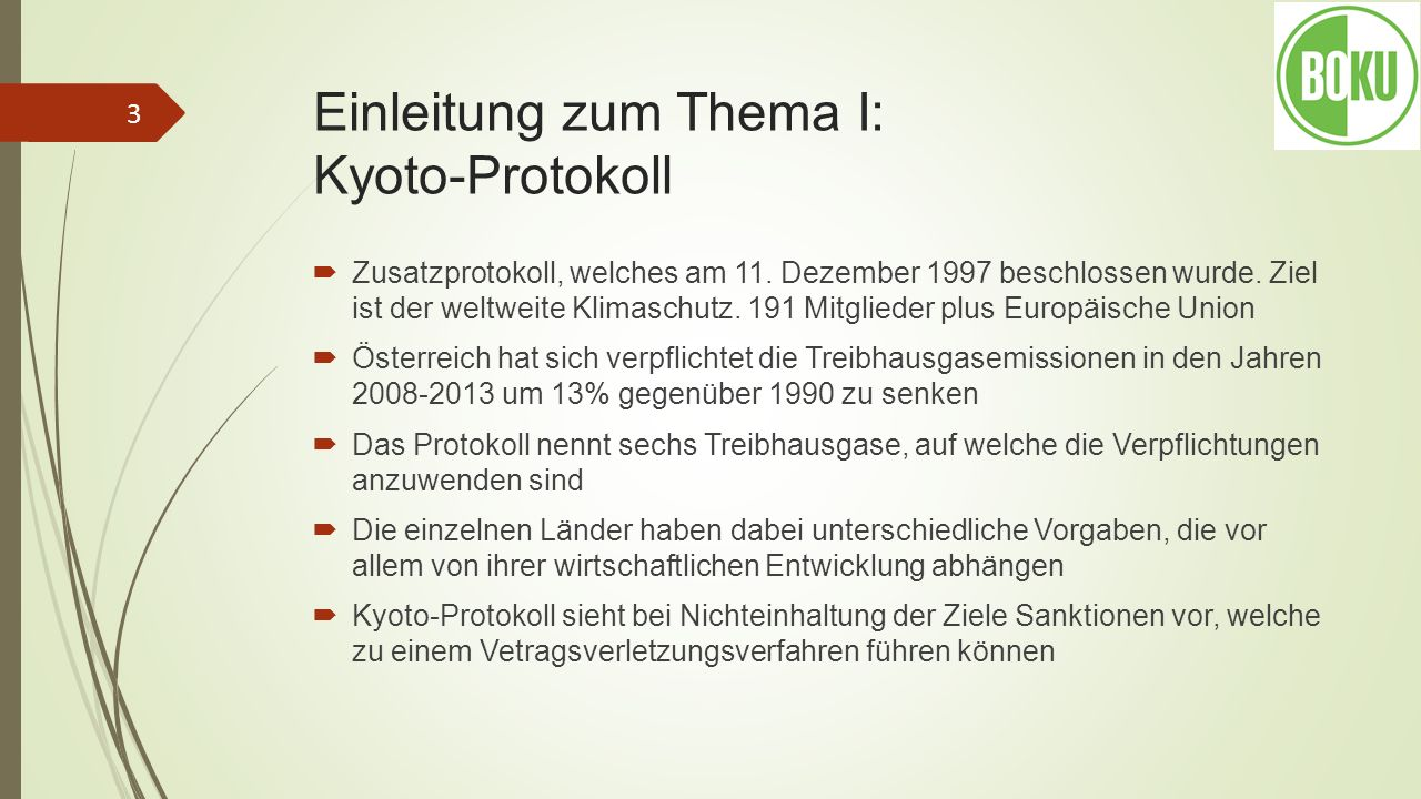 Einleitung zum Thema I: Kyoto-Protokoll