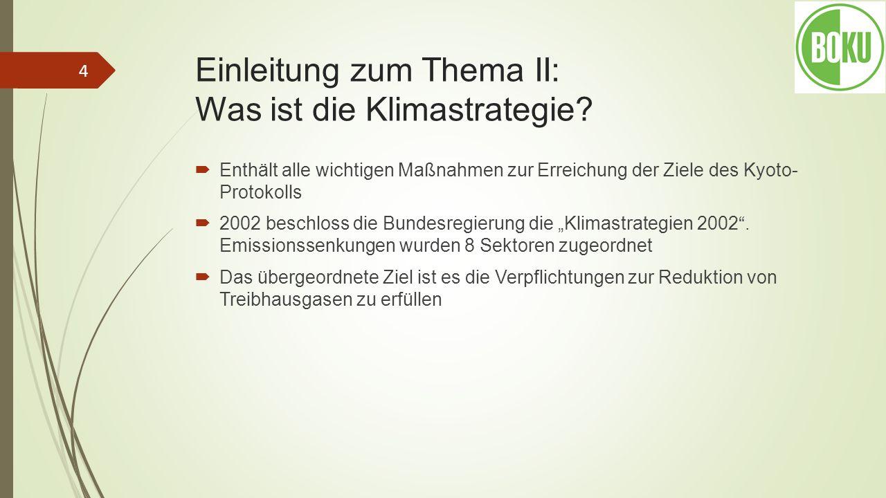 Einleitung zum Thema II: Was ist die Klimastrategie