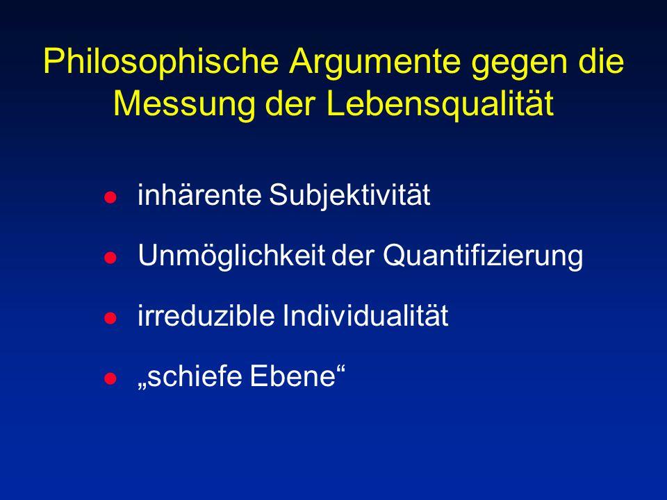 Philosophische Argumente gegen die Messung der Lebensqualität