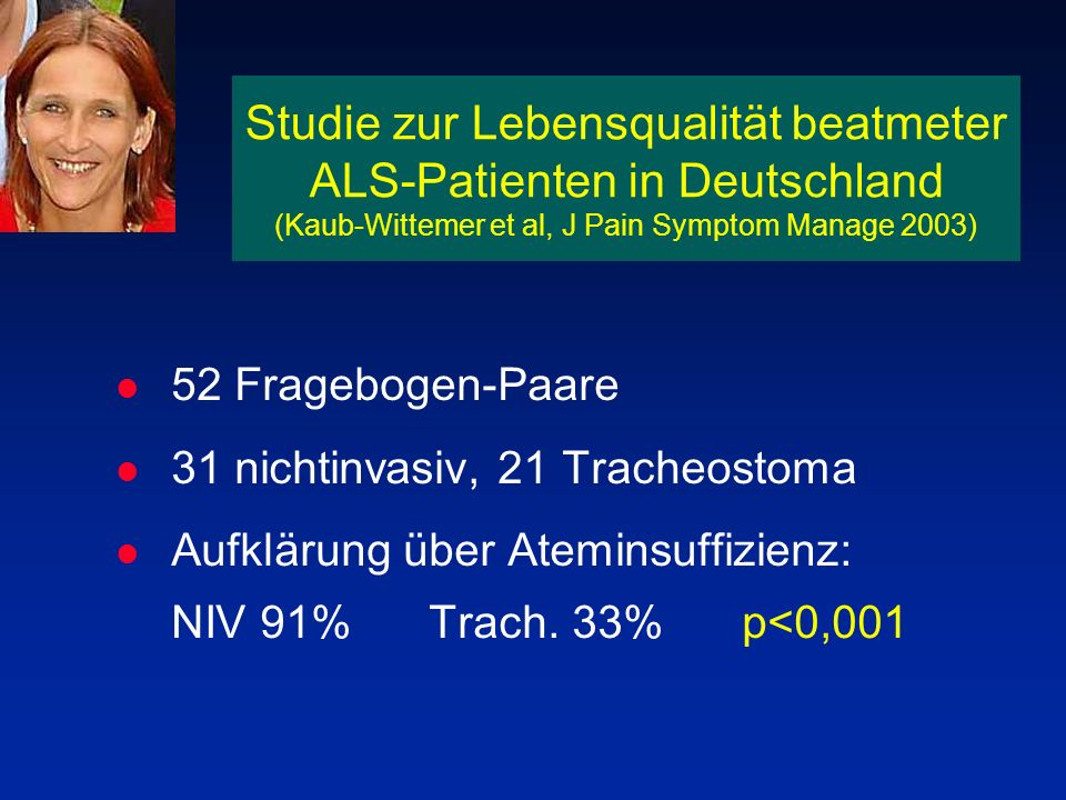 Studie zur Lebensqualität beatmeter ALS-Patienten in Deutschland (Kaub-Wittemer et al, J Pain Symptom Manage 2003)