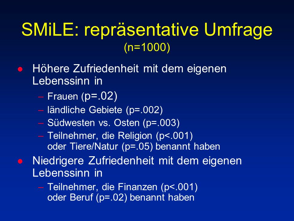 SMiLE: repräsentative Umfrage (n=1000)
