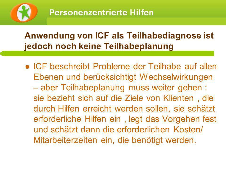 Anwendung von ICF als Teilhabediagnose ist jedoch noch keine Teilhabeplanung