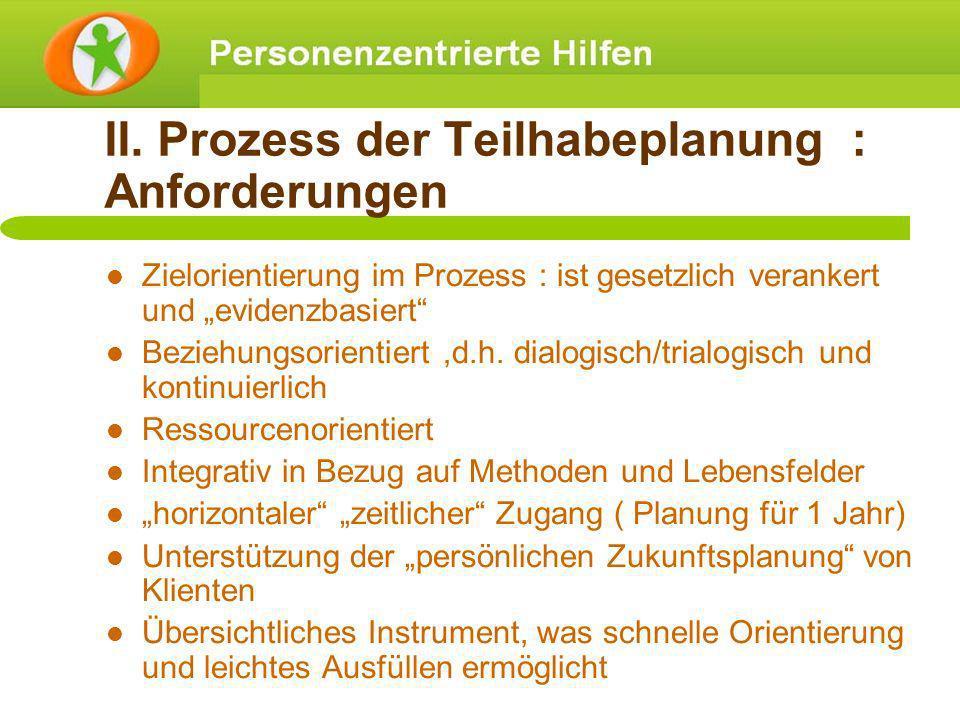 II. Prozess der Teilhabeplanung : Anforderungen