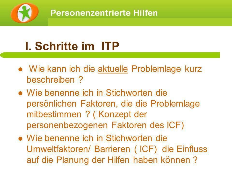 I. Schritte im ITP Wie kann ich die aktuelle Problemlage kurz beschreiben