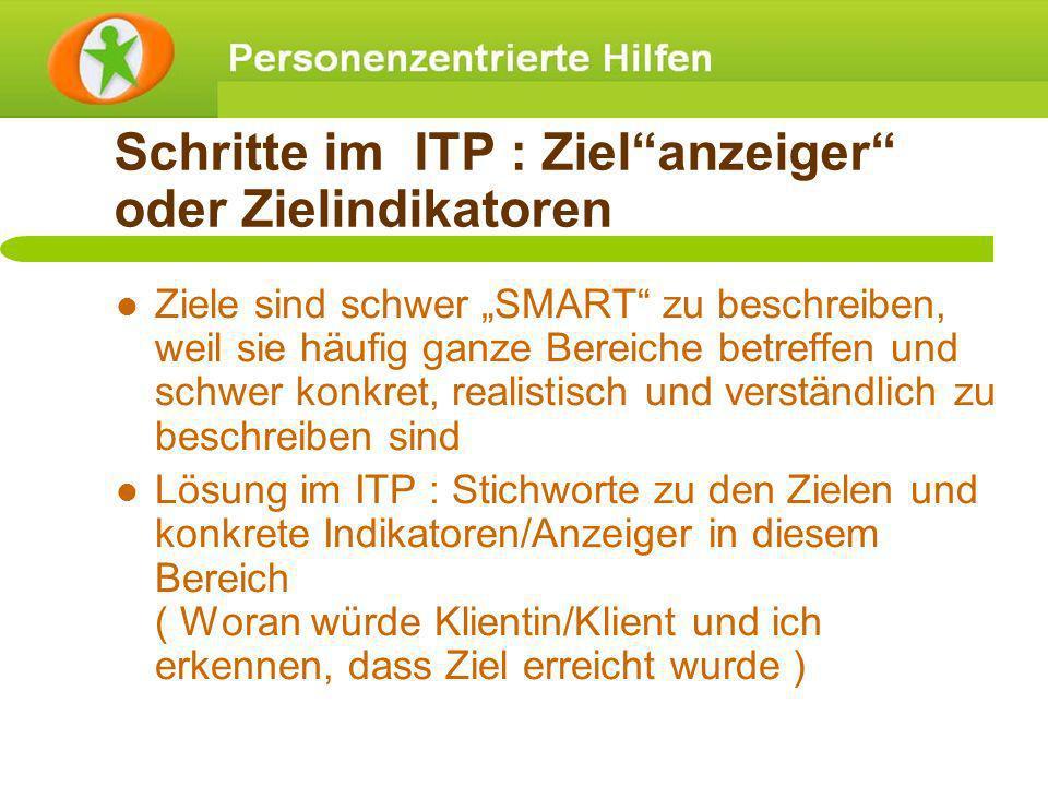 Schritte im ITP : Ziel anzeiger oder Zielindikatoren