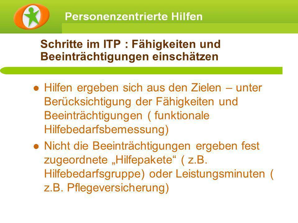 Schritte im ITP : Fähigkeiten und Beeinträchtigungen einschätzen