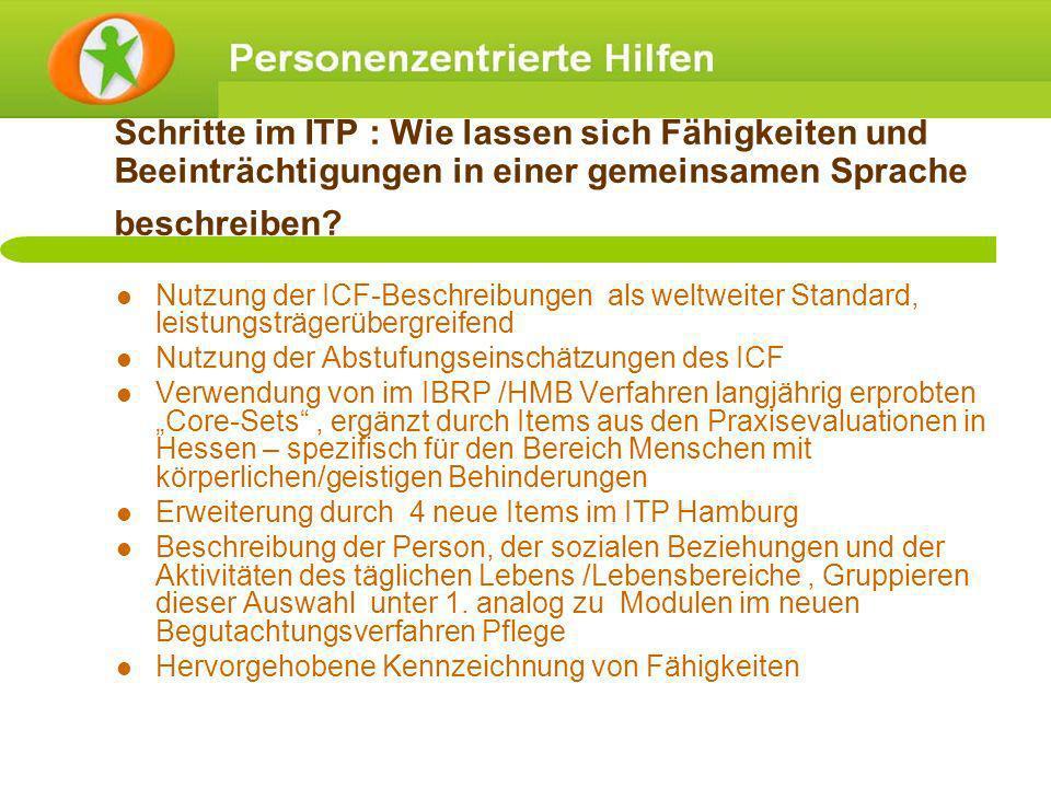 Schritte im ITP : Wie lassen sich Fähigkeiten und Beeinträchtigungen in einer gemeinsamen Sprache beschreiben