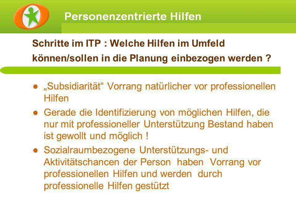 Schritte im ITP : Welche Hilfen im Umfeld können/sollen in die Planung einbezogen werden