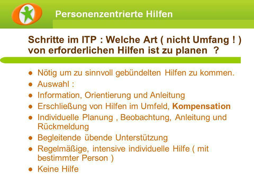Schritte im ITP : Welche Art ( nicht Umfang