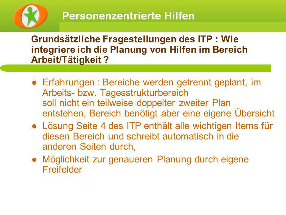 Grundsätzliche Fragestellungen des ITP : Wie integriere ich die Planung von Hilfen im Bereich Arbeit/Tätigkeit