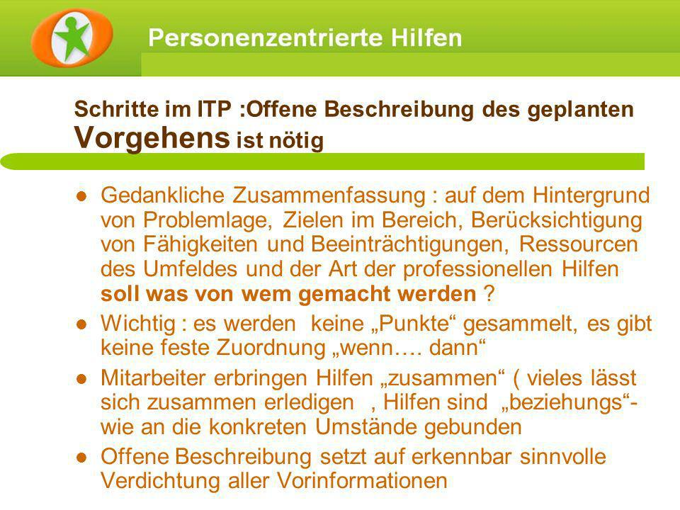 Schritte im ITP :Offene Beschreibung des geplanten Vorgehens ist nötig