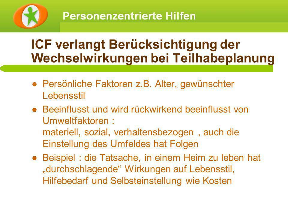 ICF verlangt Berücksichtigung der Wechselwirkungen bei Teilhabeplanung