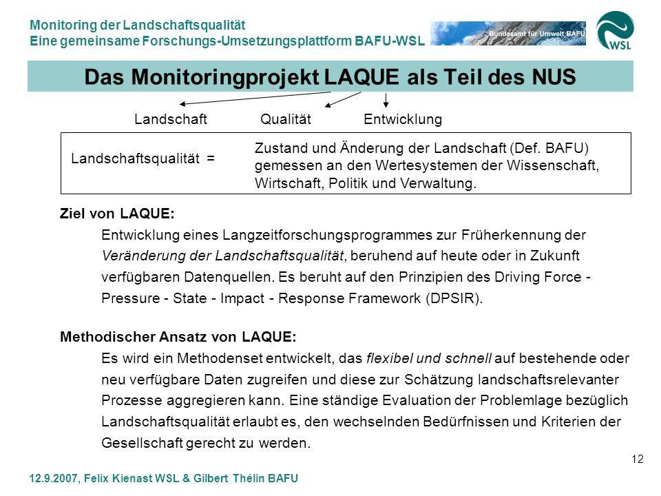 Das Monitoringprojekt LAQUE als Teil des NUS