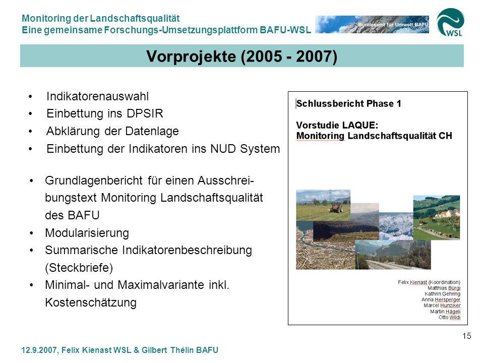 Vorprojekte (2005 - 2007) Indikatorenauswahl Einbettung ins DPSIR