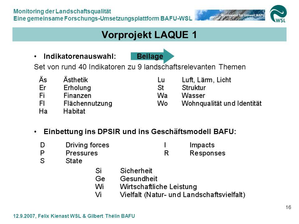 Vorprojekt LAQUE 1 Indikatorenauswahl: Beilage