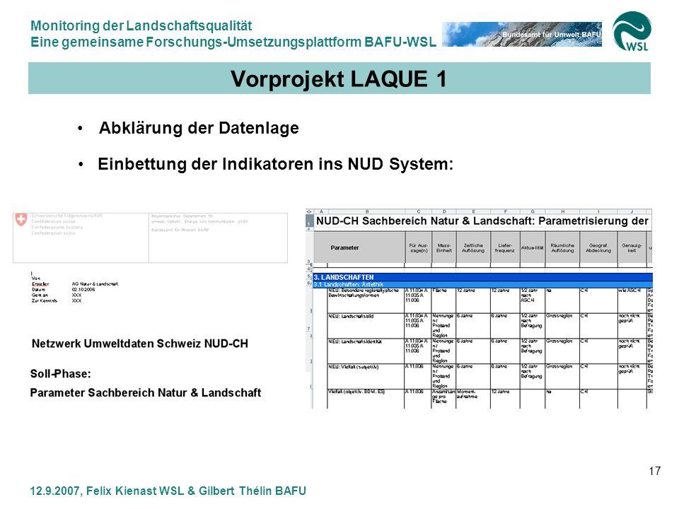 Vorprojekt LAQUE 1 Abklärung der Datenlage