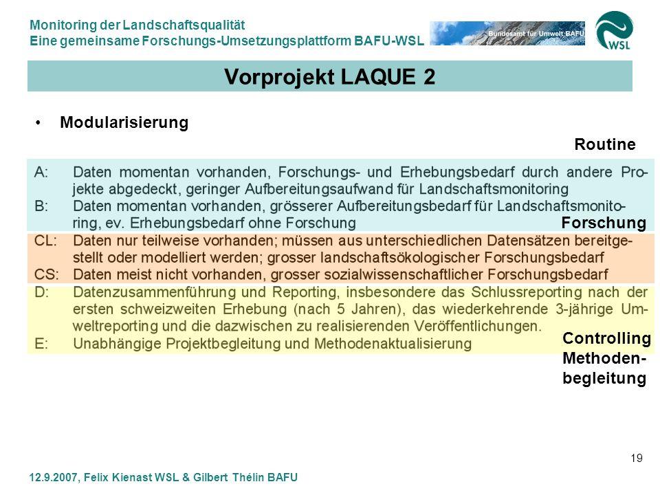 Vorprojekt LAQUE 2 Modularisierung Routine Forschung Controlling