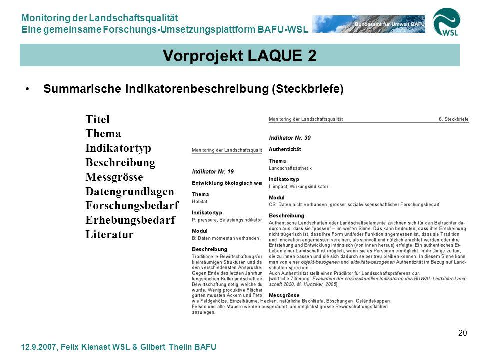 Vorprojekt LAQUE 2 Summarische Indikatorenbeschreibung (Steckbriefe)