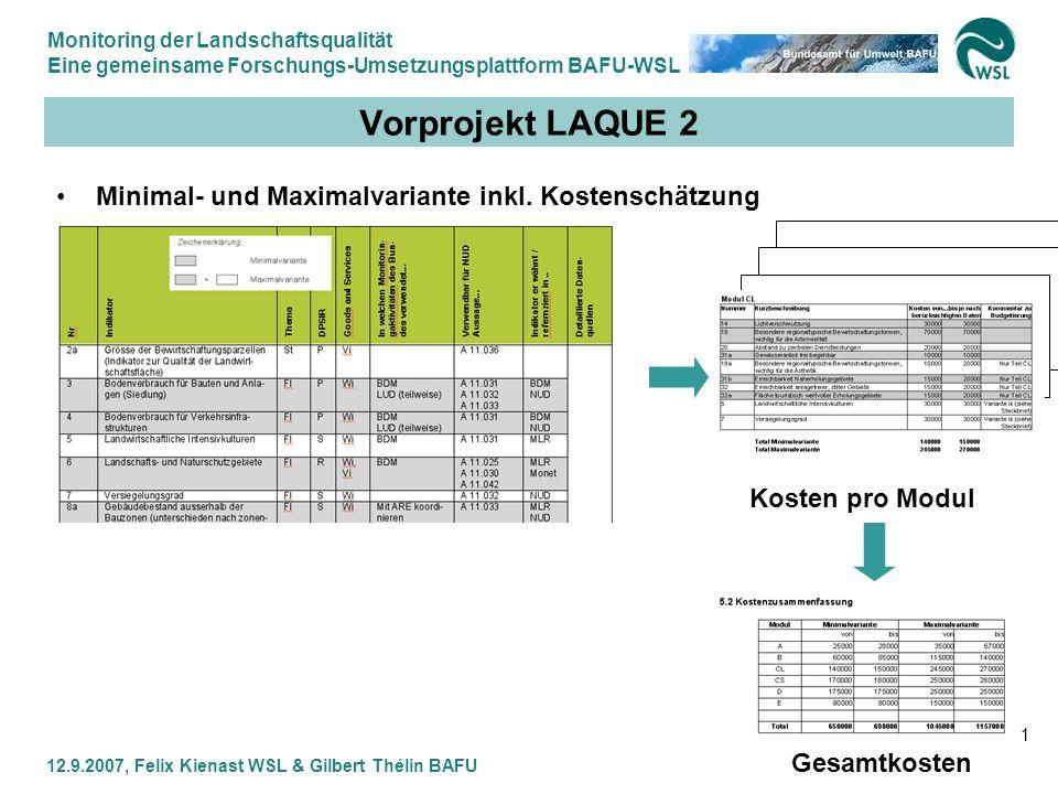 Vorprojekt LAQUE 2 Minimal- und Maximalvariante inkl. Kostenschätzung
