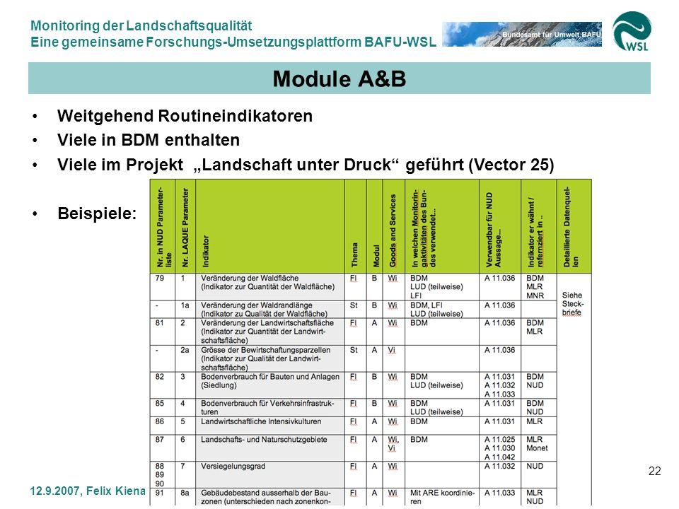 Module A&B Weitgehend Routineindikatoren Viele in BDM enthalten