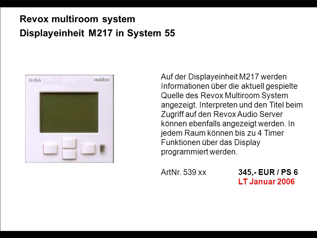 Revox multiroom system Displayeinheit M217 in System 55